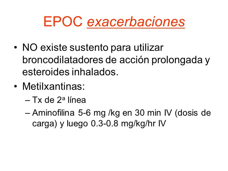 EPOC exacerbaciones NO existe sustento para utilizar broncodilatadores de acción prolongada y esteroides inhalados. Metilxantinas: –Tx de 2 a línea –A