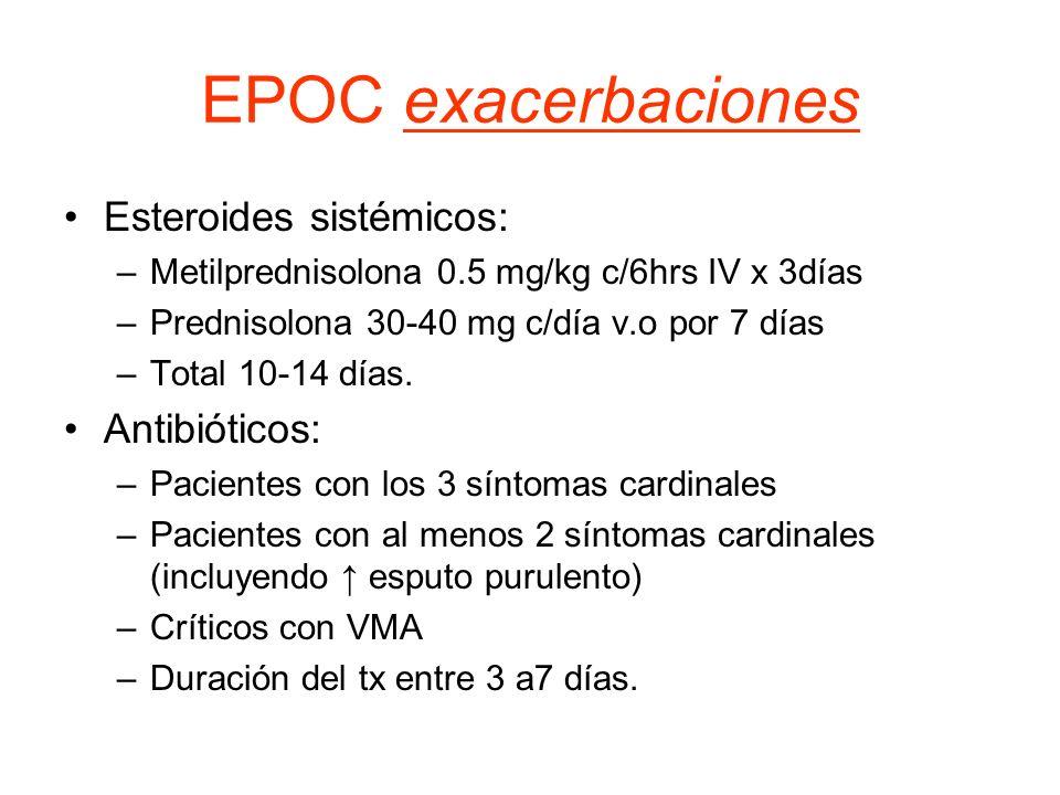 EPOC exacerbaciones Esteroides sistémicos: –Metilprednisolona 0.5 mg/kg c/6hrs IV x 3días –Prednisolona 30-40 mg c/día v.o por 7 días –Total 10-14 día