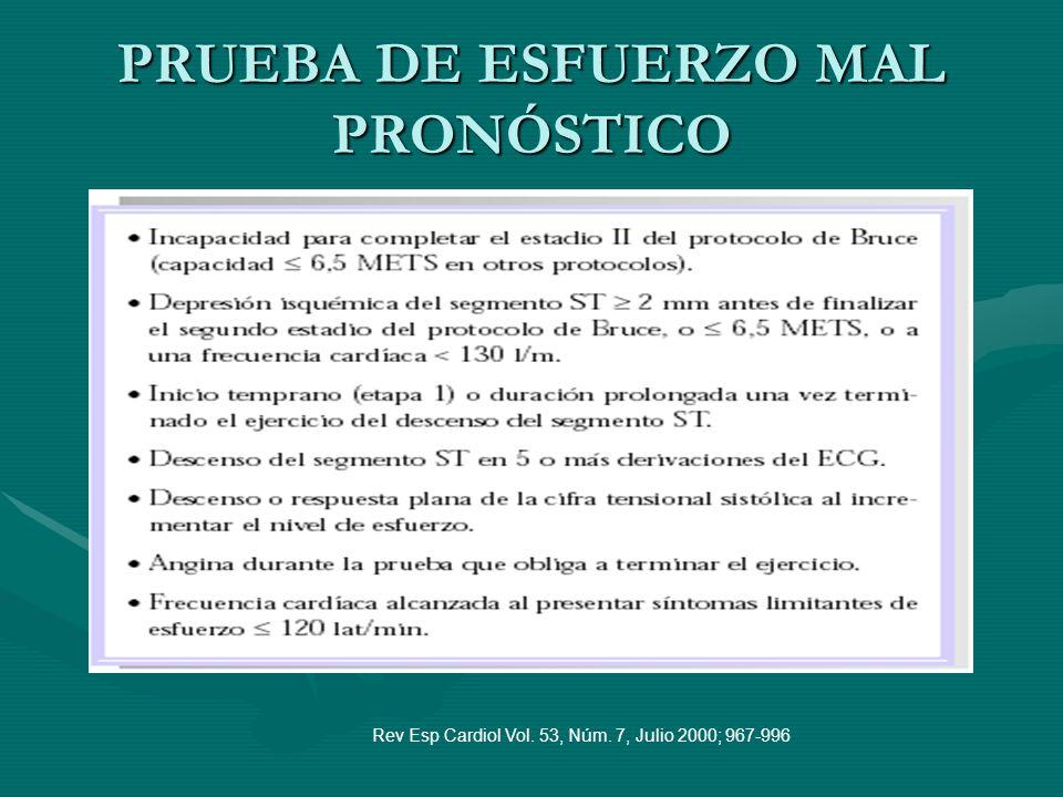 PRUEBA DE ESFUERZO MAL PRONÓSTICO Rev Esp Cardiol Vol. 53, Núm. 7, Julio 2000; 967-996