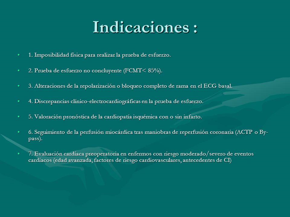 Indicaciones : 1. Imposibilidad física para realizar la prueba de esfuerzo.1. Imposibilidad física para realizar la prueba de esfuerzo. 2. Prueba de e