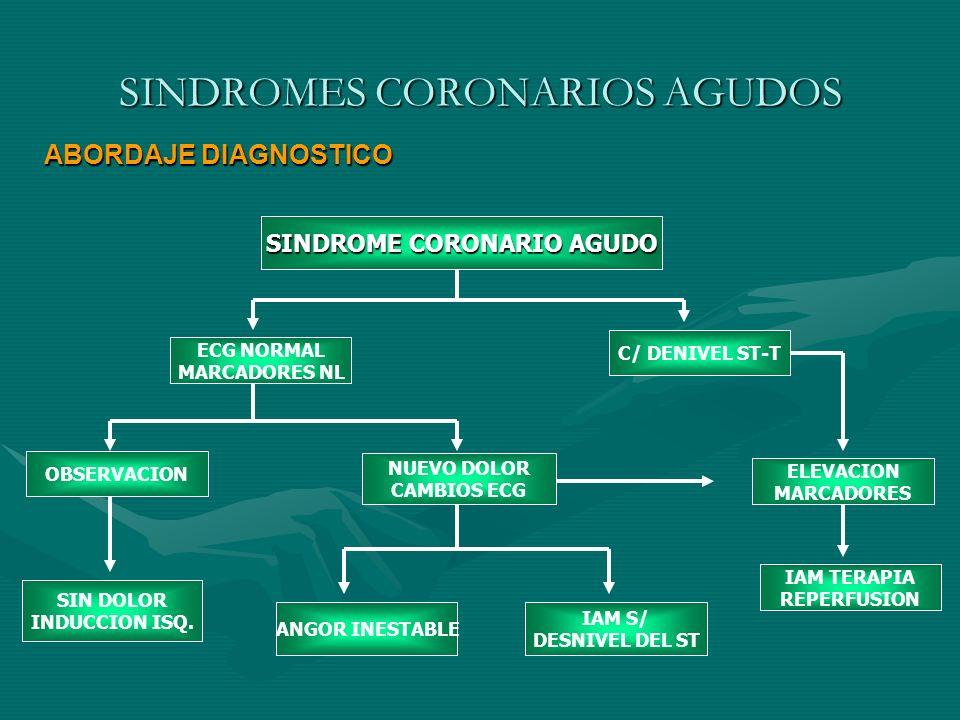 SINDROMES CORONARIOS AGUDOS ABORDAJE DIAGNOSTICO SINDROME CORONARIO AGUDO ECG NORMAL MARCADORES NL C/ DENIVEL ST-T NUEVO DOLOR CAMBIOS ECG ELEVACION M