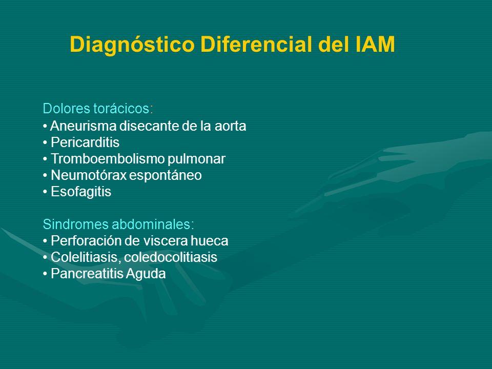 Dolores torácicos: Aneurisma disecante de la aorta Pericarditis Tromboembolismo pulmonar Neumotórax espontáneo Esofagitis Sindromes abdominales: Perfo