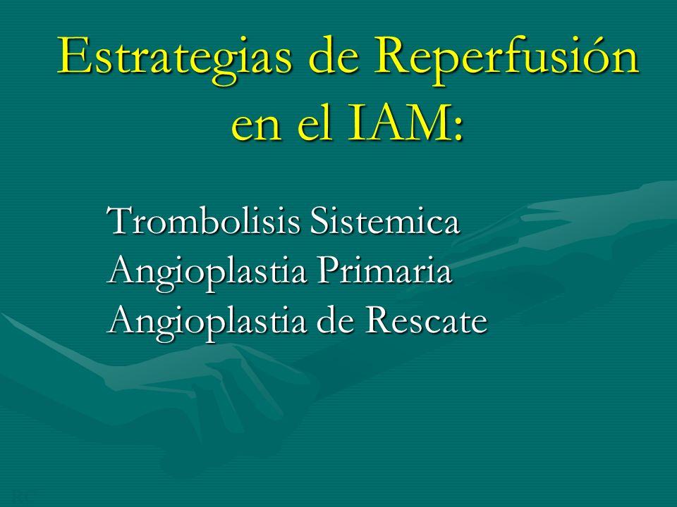 Estrategias de Reperfusión en el IAM: Trombolisis Sistemica Angioplastia Primaria Angioplastia de Rescate RC