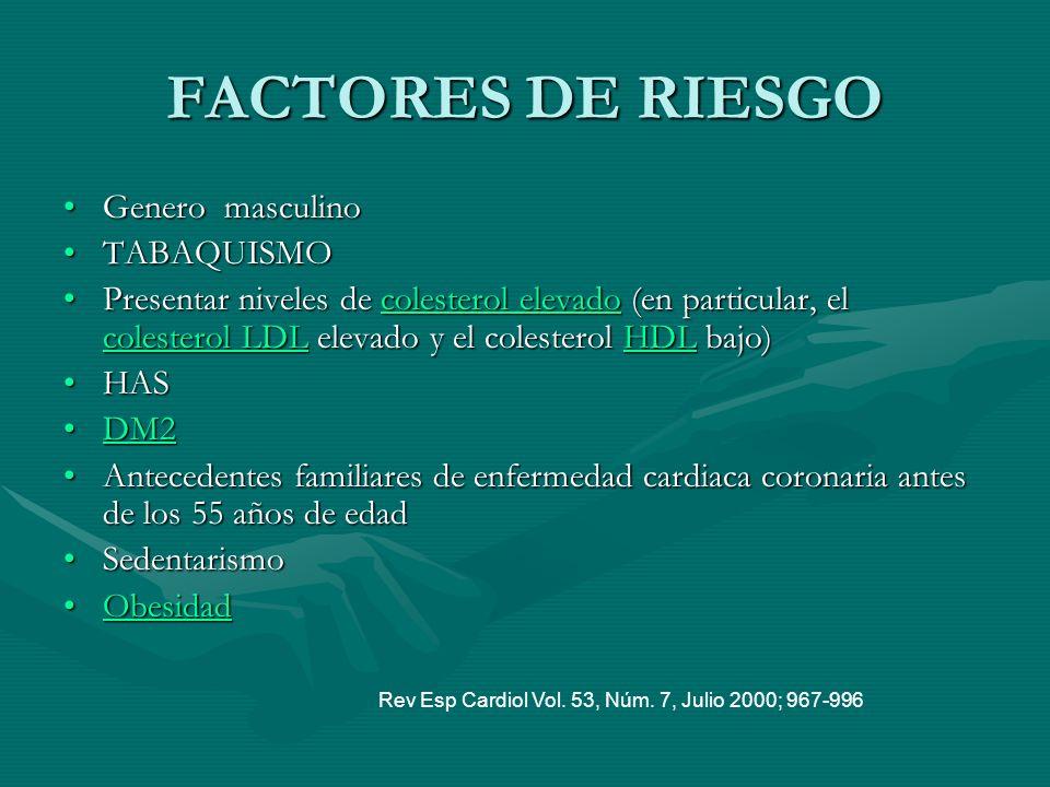 FACTORES DE RIESGO Genero masculinoGenero masculino TABAQUISMOTABAQUISMO Presentar niveles de colesterol elevado (en particular, el colesterol LDL ele