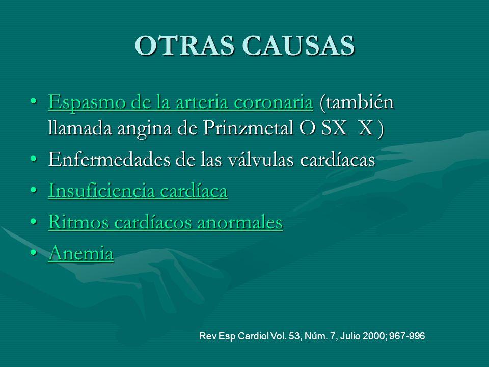 OTRAS CAUSAS Espasmo de la arteria coronaria (también llamada angina de Prinzmetal O SX X )Espasmo de la arteria coronaria (también llamada angina de