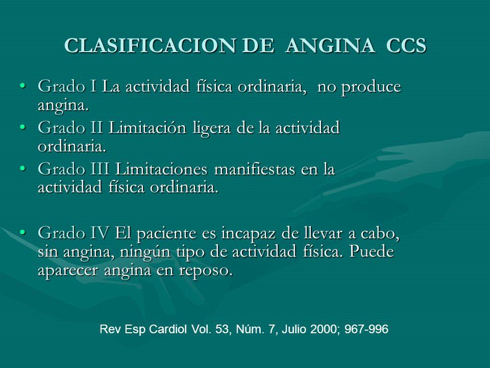 CLASIFICACION DE ANGINA CCS Grado I La actividad física ordinaria, no produce angina.Grado I La actividad física ordinaria, no produce angina. Grado I