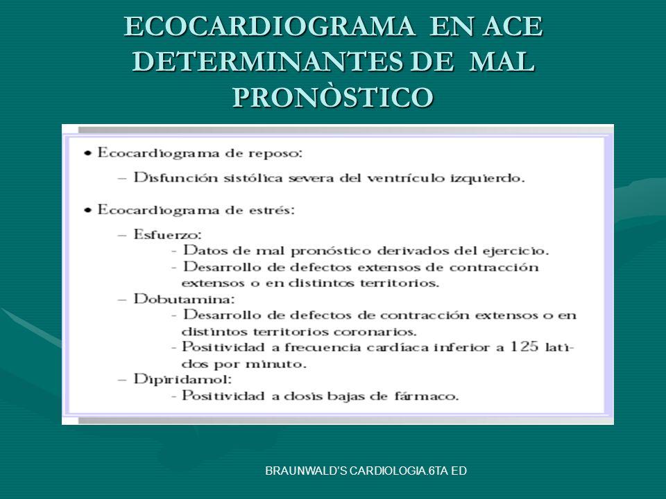 ECOCARDIOGRAMA EN ACE DETERMINANTES DE MAL PRONÒSTICO BRAUNWALDS CARDIOLOGIA.6TA ED