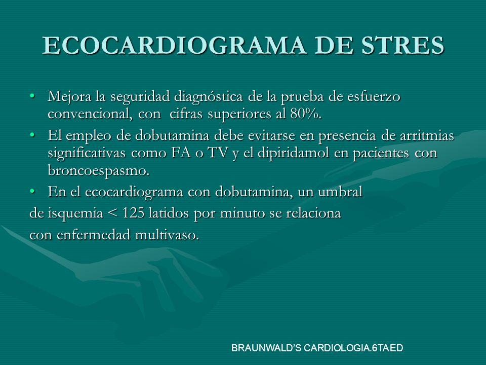 ECOCARDIOGRAMA DE STRES Mejora la seguridad diagnóstica de la prueba de esfuerzo convencional, con cifras superiores al 80%.Mejora la seguridad diagnó