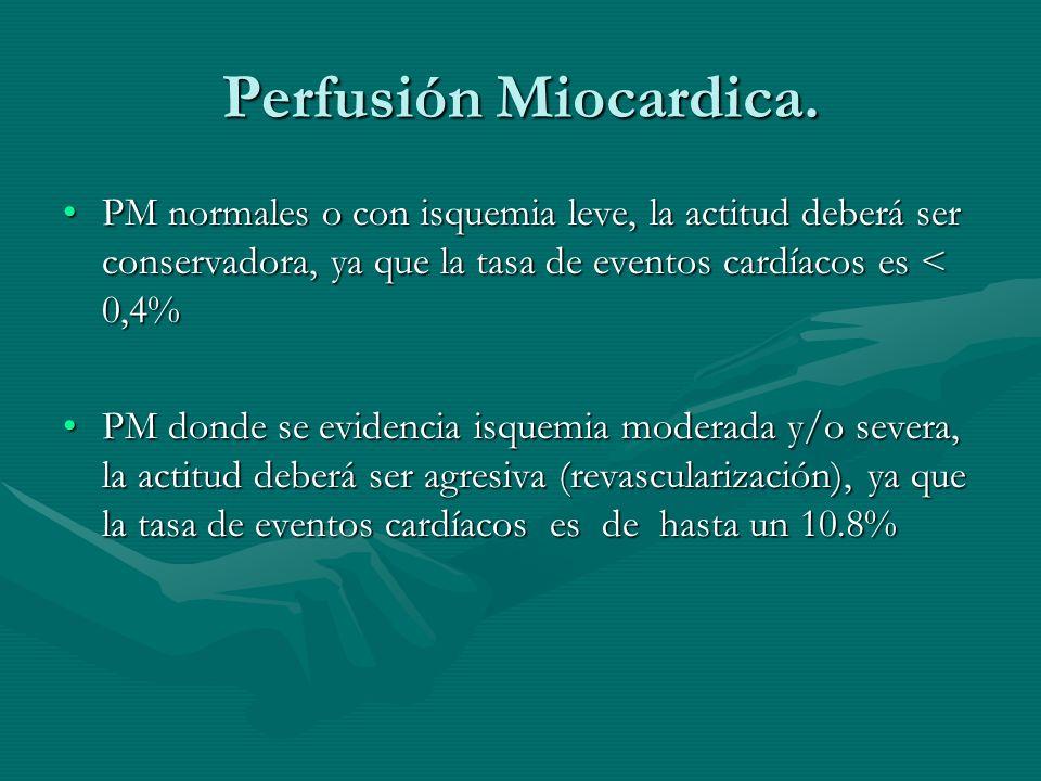 Perfusión Miocardica. PM normales o con isquemia leve, la actitud deberá ser conservadora, ya que la tasa de eventos cardíacos es < 0,4%PM normales o