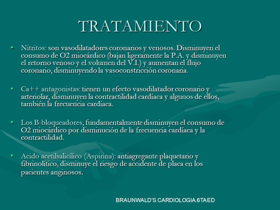 TRATAMIENTO Nitritos: son vasodilatadores coronarios y venosos. Disminuyen el consumo de O2 miocárdico (bajan ligeramente la P.A. y disminuyen el reto