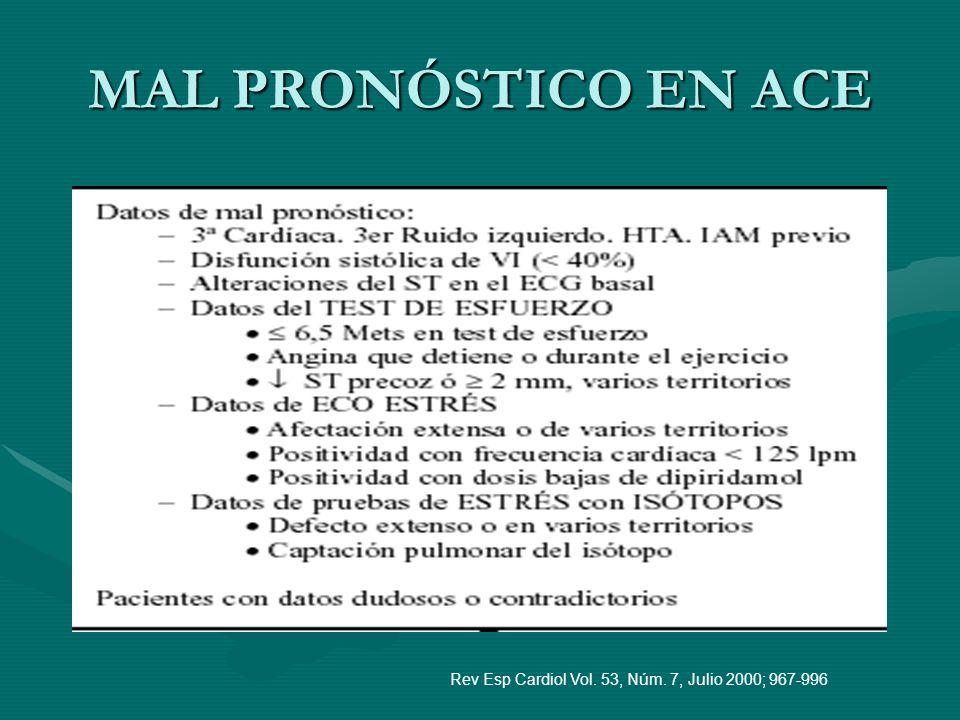 MAL PRONÓSTICO EN ACE Rev Esp Cardiol Vol. 53, Núm. 7, Julio 2000; 967-996