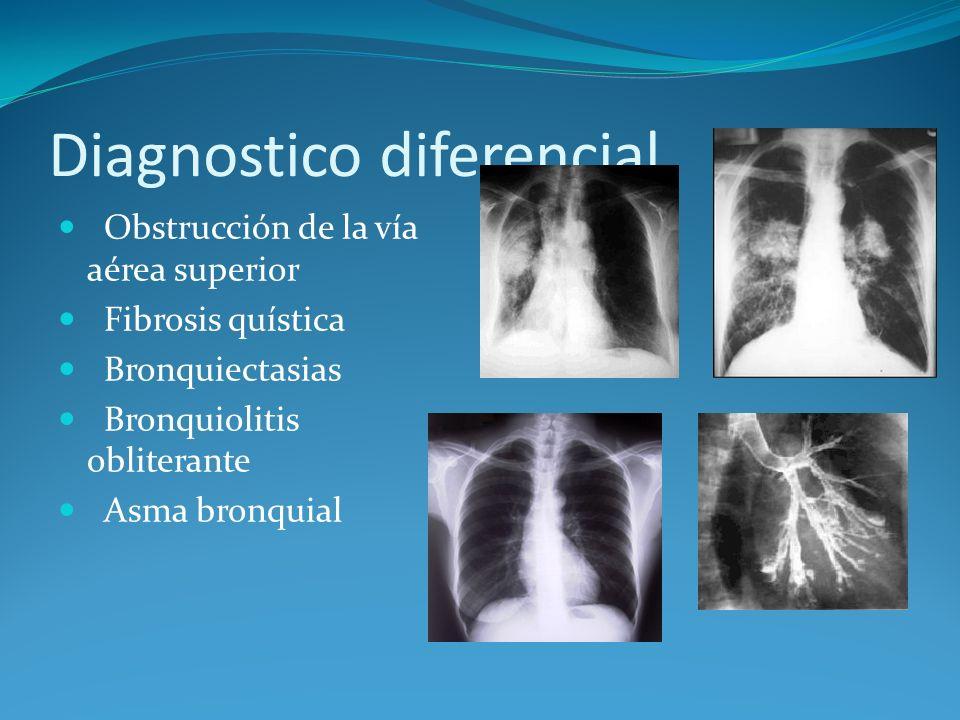 Diagnostico diferencial Obstrucción de la vía aérea superior Fibrosis quística Bronquiectasias Bronquiolitis obliterante Asma bronquial