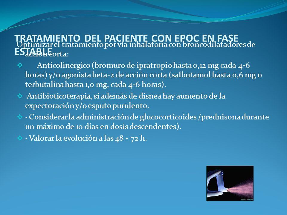 TRATAMIENTO DEL PACIENTE CON EPOC EN FASE ESTABLE Optimizar el tratamiento por vía inhalatoria con broncodilatadores de acción corta: Anticolinergico