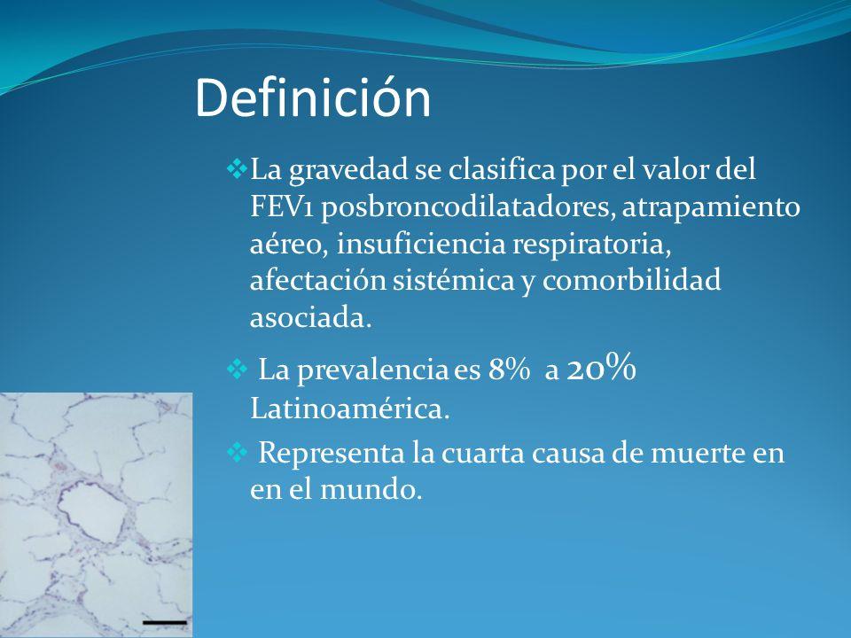 Definición La gravedad se clasifica por el valor del FEV1 posbroncodilatadores, atrapamiento aéreo, insuficiencia respiratoria, afectación sistémica y