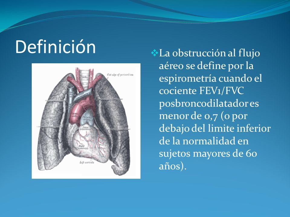 Definición La obstrucción al flujo aéreo se define por la espirometría cuando el cociente FEV1/FVC posbroncodilatador es menor de 0,7 (o por debajo de