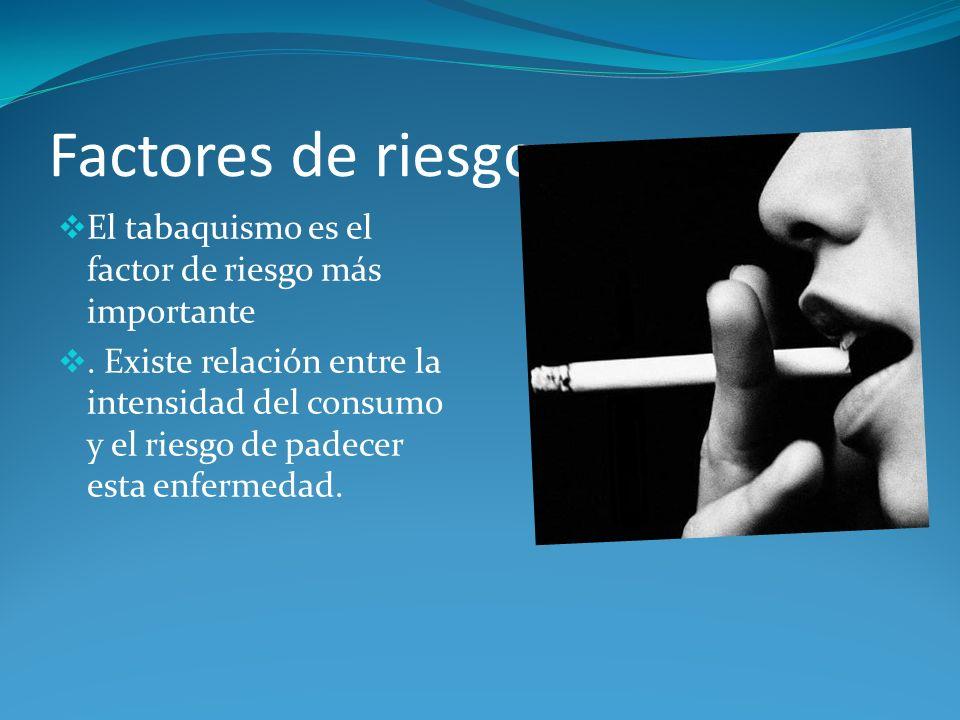 Factores de riesgo El tabaquismo es el factor de riesgo más importante. Existe relación entre la intensidad del consumo y el riesgo de padecer esta en