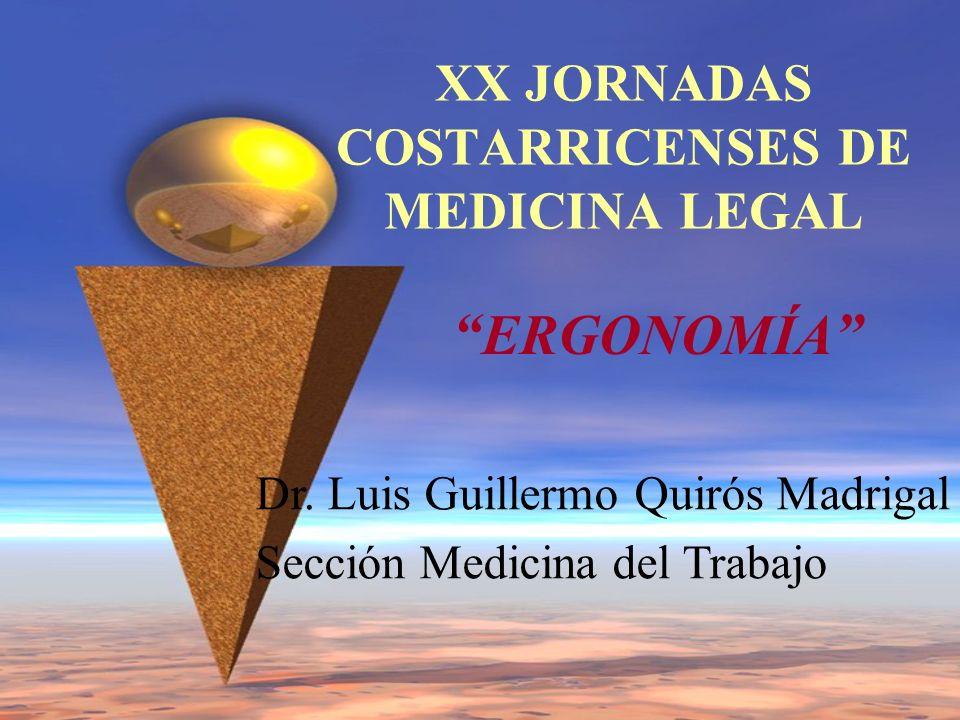 XX JORNADAS COSTARRICENSES DE MEDICINA LEGAL ERGONOMÍA Dr. Luis Guillermo Quirós Madrigal Sección Medicina del Trabajo