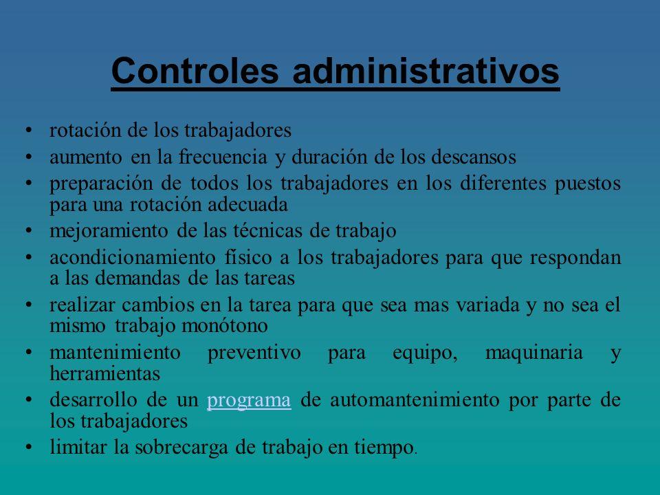Controles administrativos rotación de los trabajadores aumento en la frecuencia y duración de los descansos preparación de todos los trabajadores en l