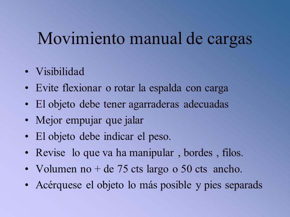 Movimiento manual de cargas Visibilidad Evite flexionar o rotar la espalda con carga El objeto debe tener agarraderas adecuadas Mejor empujar que jala