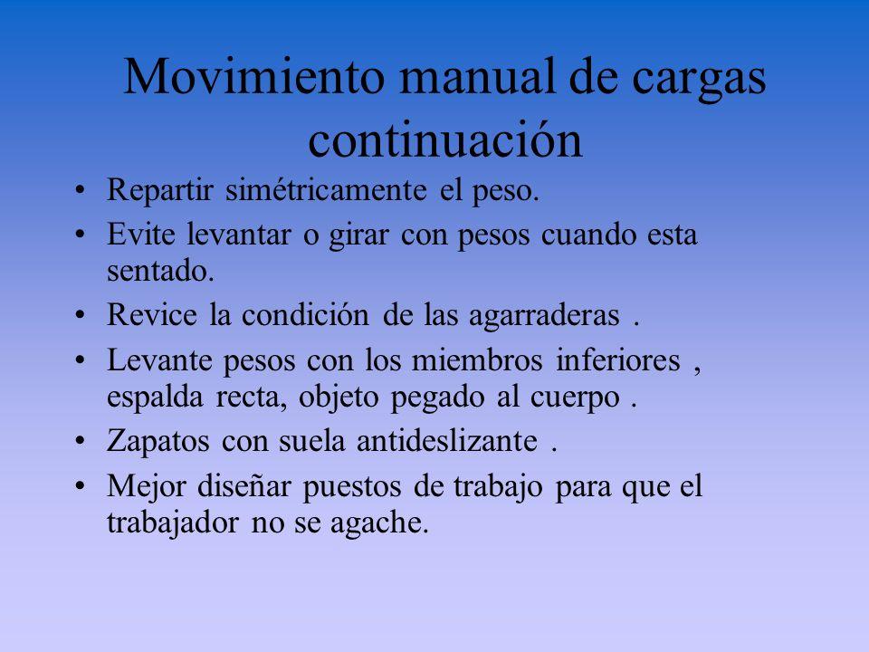 Movimiento manual de cargas continuación Repartir simétricamente el peso. Evite levantar o girar con pesos cuando esta sentado. Revice la condición de