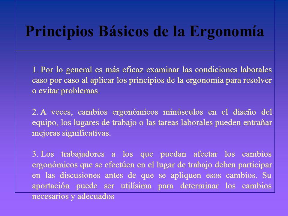 Principios Básicos de la Ergonomía 1. Por lo general es más eficaz examinar las condiciones laborales caso por caso al aplicar los principios de la er