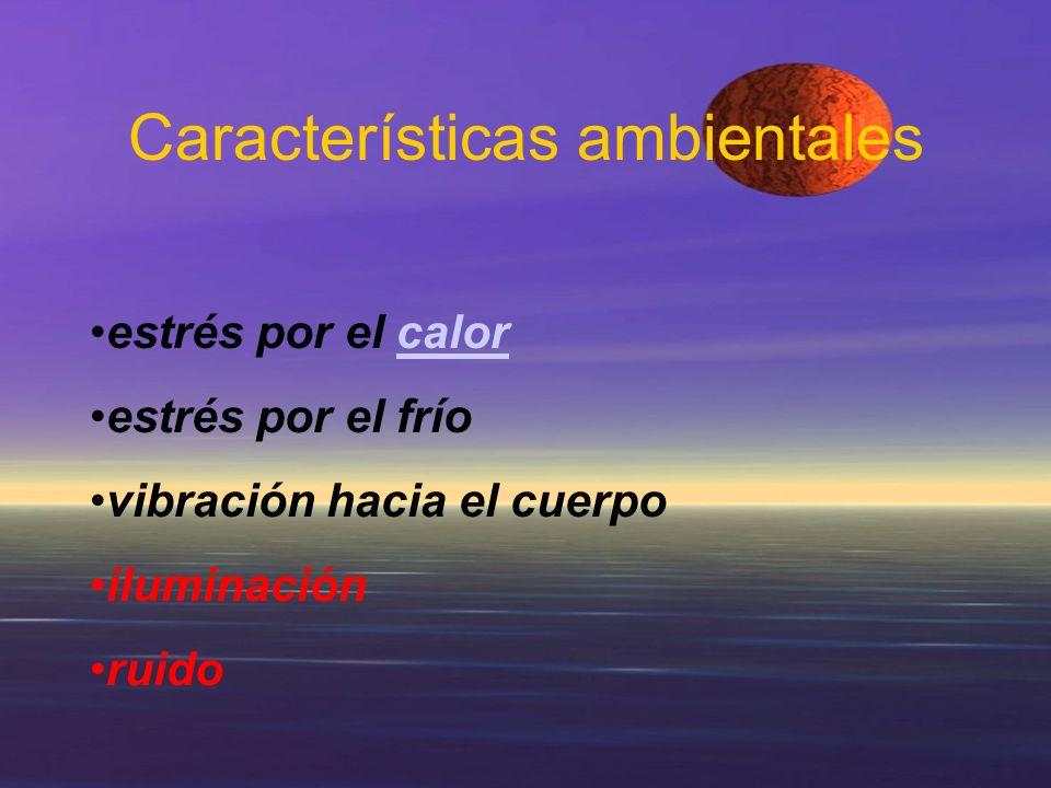 Características ambientales estrés por el calorcalor estrés por el frío vibración hacia el cuerpo iluminación ruido
