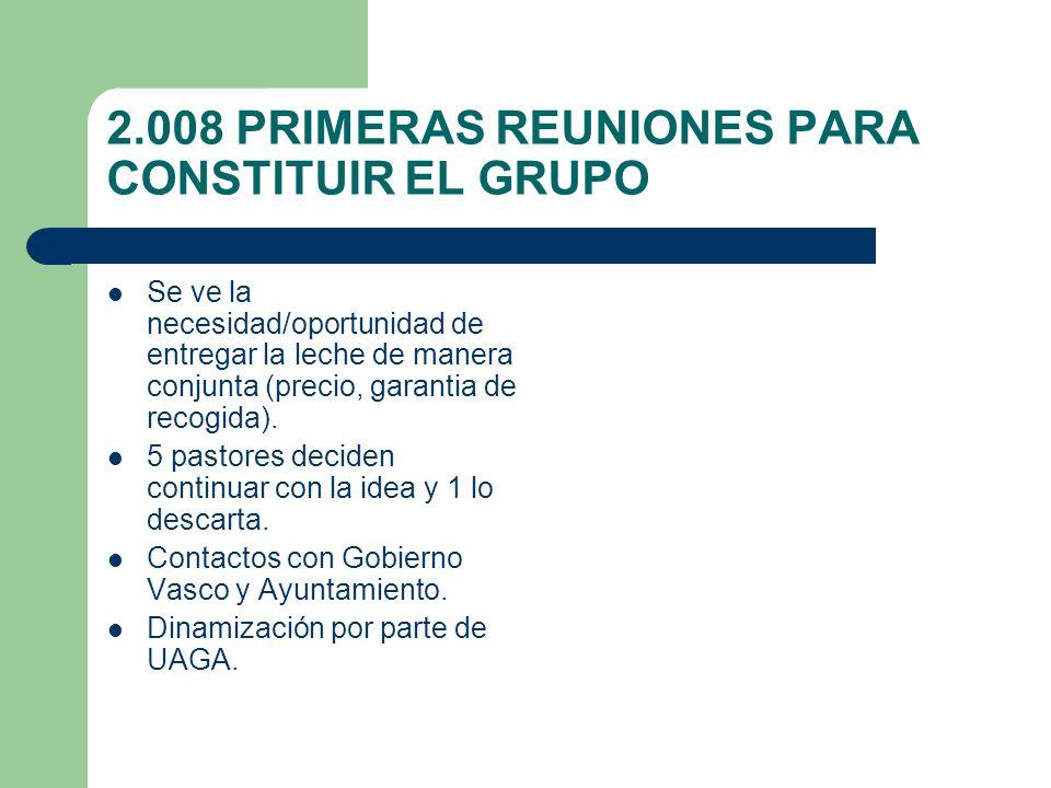 2.008 PRIMERAS REUNIONES PARA CONSTITUIR EL GRUPO Se ve la necesidad/oportunidad de entregar la leche de manera conjunta (precio, garantia de recogida).