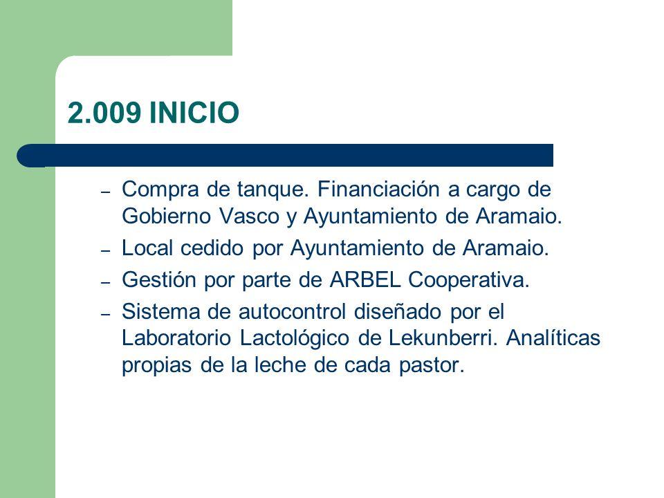 2.009 INICIO – Compra de tanque. Financiación a cargo de Gobierno Vasco y Ayuntamiento de Aramaio.