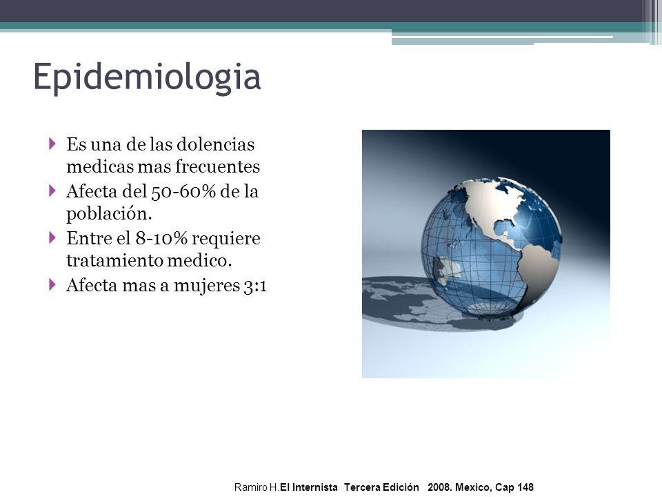 Epidemiologia Es una de las dolencias medicas mas frecuentes Afecta del 50-60% de la población. Entre el 8-10% requiere tratamiento medico. Afecta mas