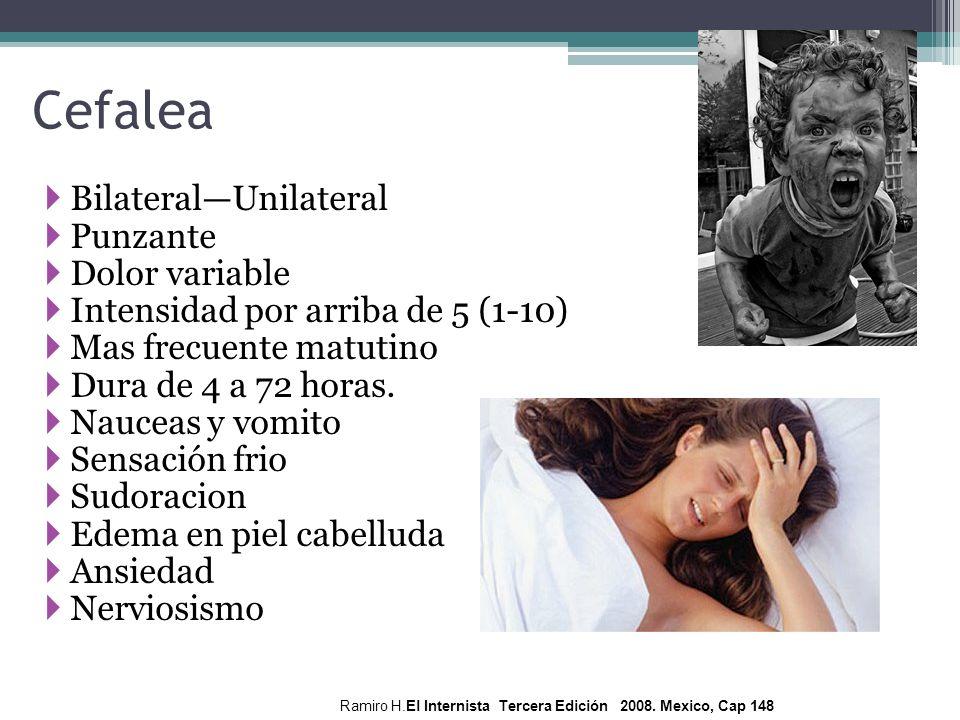 BilateralUnilateral Punzante Dolor variable Intensidad por arriba de 5 (1-10) Mas frecuente matutino Dura de 4 a 72 horas. Nauceas y vomito Sensación