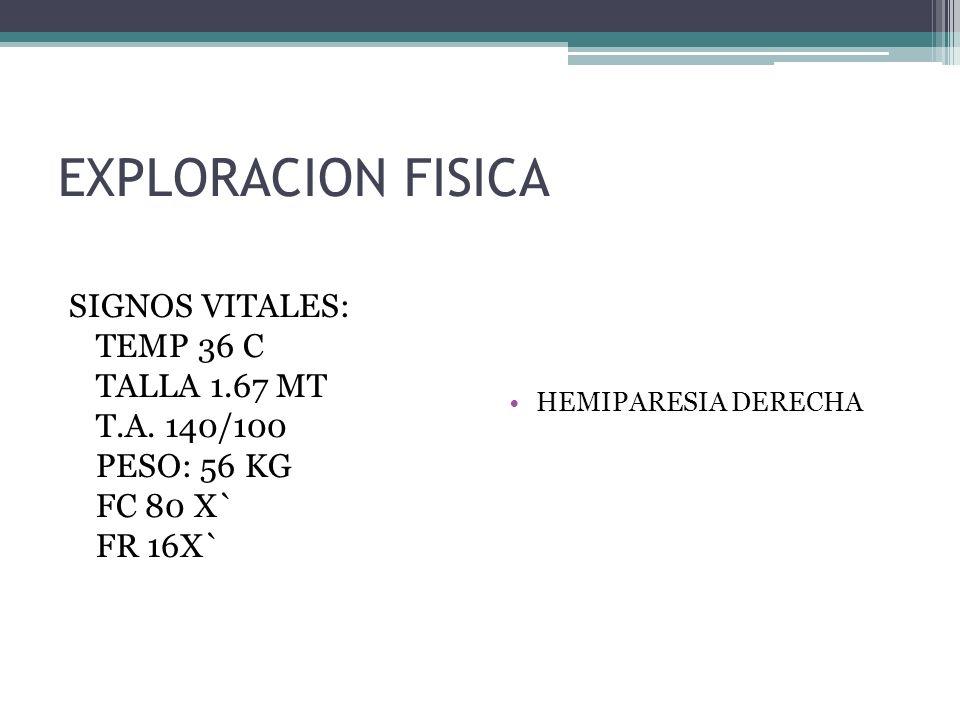 EXPLORACION FISICA SIGNOS VITALES: TEMP 36 C TALLA 1.67 MT T.A. 140/100 PESO: 56 KG FC 80 X` FR 16X` HEMIPARESIA DERECHA