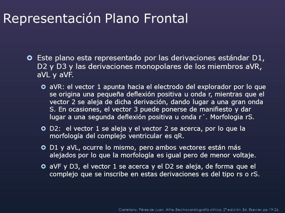 Representación Plano Frontal Este plano esta representado por las derivaciones estándar D1, D2 y D3 y las derivaciones monopolares de los miembros aVR