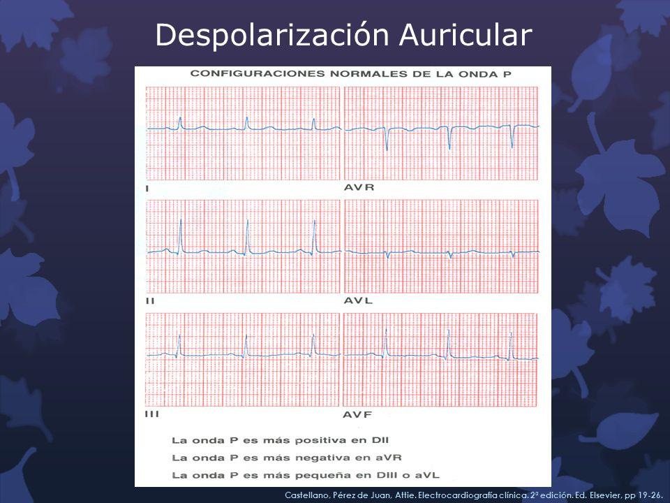 Despolarización Auricular Castellano, Pérez de Juan, Attie. Electrocardiografía clínica. 2ª edición. Ed. Elsevier, pp 19-26.