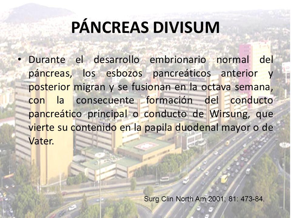 Durante el desarrollo embrionario normal del páncreas, los esbozos pancreáticos anterior y posterior migran y se fusionan en la octava semana, con la