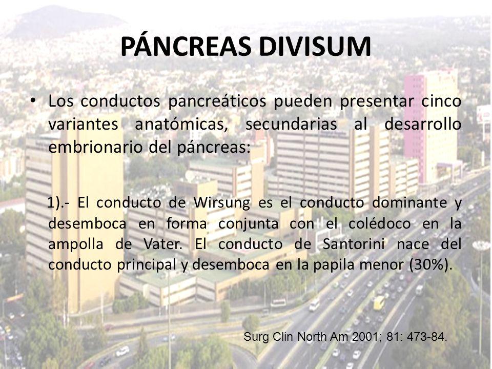Los conductos pancreáticos pueden presentar cinco variantes anatómicas, secundarias al desarrollo embrionario del páncreas: 1).- El conducto de Wirsun