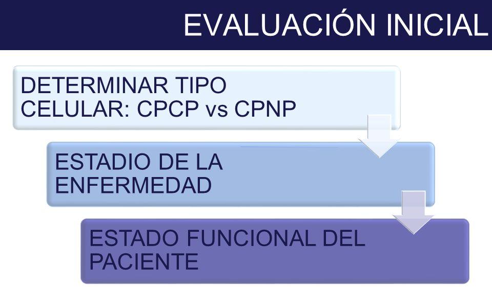 EVALUACIÓN INICIAL DETERMINAR TIPO CELULAR: CPCP vs CPNP ESTADIO DE LA ENFERMEDAD ESTADO FUNCIONAL DEL PACIENTE