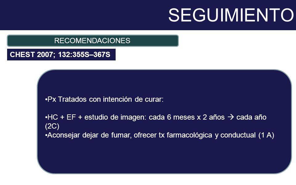 SEGUIMIENTO Px Tratados con intención de curar: HC + EF + estudio de imagen: cada 6 meses x 2 años cada año (2C) Aconsejar dejar de fumar, ofrecer tx