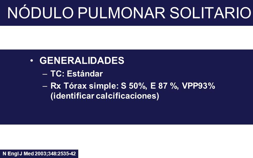 NÓDULO PULMONAR SOLITARIO GENERALIDADES –TC: Estándar –Rx Tórax simple: S 50%, E 87 %, VPP93% (identificar calcificaciones) N Engl J Med 2003;348:2535