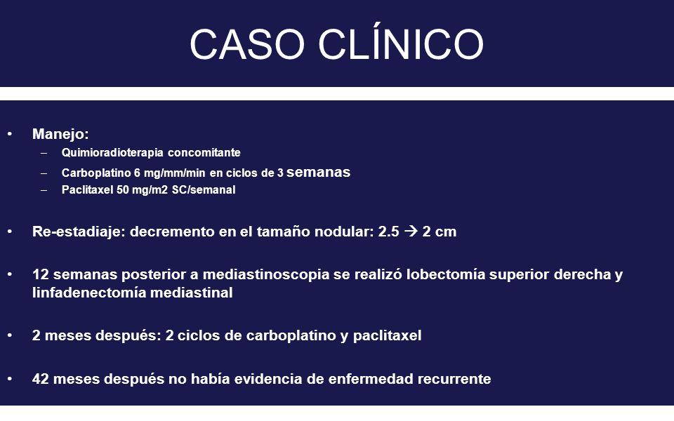 CASO CLÍNICO Manejo: –Quimioradioterapia concomitante –Carboplatino 6 mg/mm/min en ciclos de 3 semanas –Paclitaxel 50 mg/m2 SC/semanal Re-estadiaje: d
