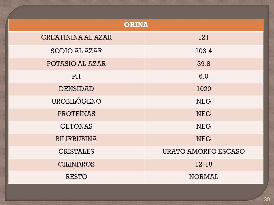 30 ORINA CREATININA AL AZAR121 SODIO AL AZAR103.4 POTASIO AL AZAR39.8 PH6.0 DENSIDAD1020 UROBILÓGENONEG PROTEÍNASNEG CETONASNEG BILIRRUBINANEG CRISTAL