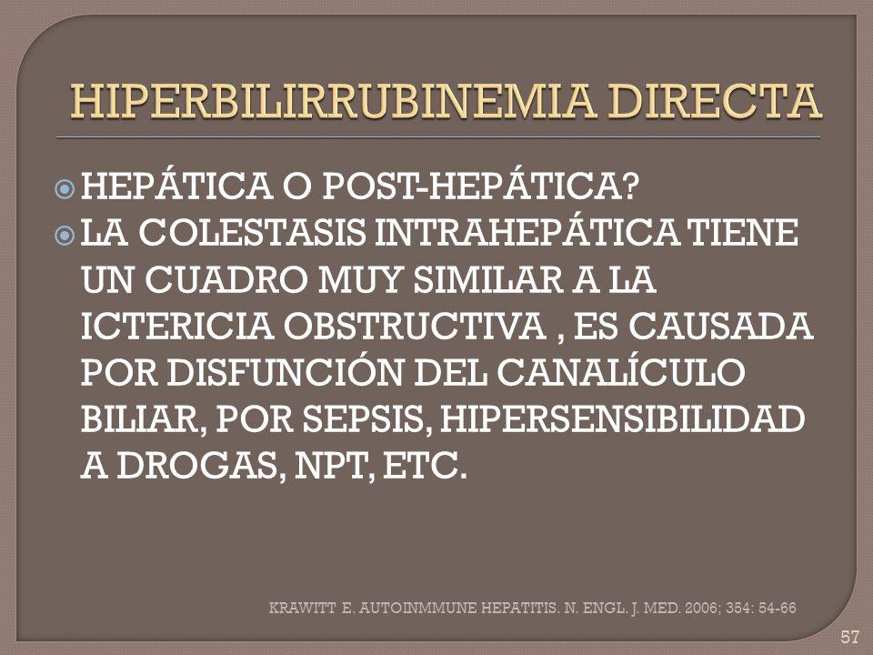 HEPÁTICA O POST-HEPÁTICA? LA COLESTASIS INTRAHEPÁTICA TIENE UN CUADRO MUY SIMILAR A LA ICTERICIA OBSTRUCTIVA, ES CAUSADA POR DISFUNCIÓN DEL CANALÍCULO