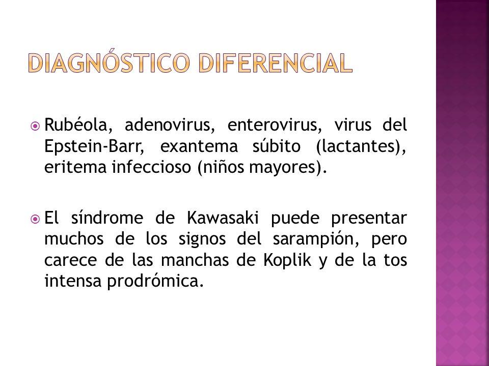 Rubéola, adenovirus, enterovirus, virus del Epstein-Barr, exantema súbito (lactantes), eritema infeccioso (niños mayores). El síndrome de Kawasaki pue