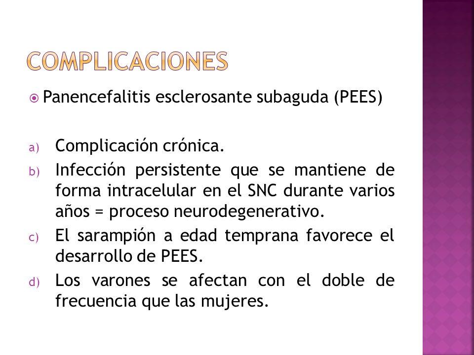 Panencefalitis esclerosante subaguda (PEES) a) Complicación crónica. b) Infección persistente que se mantiene de forma intracelular en el SNC durante