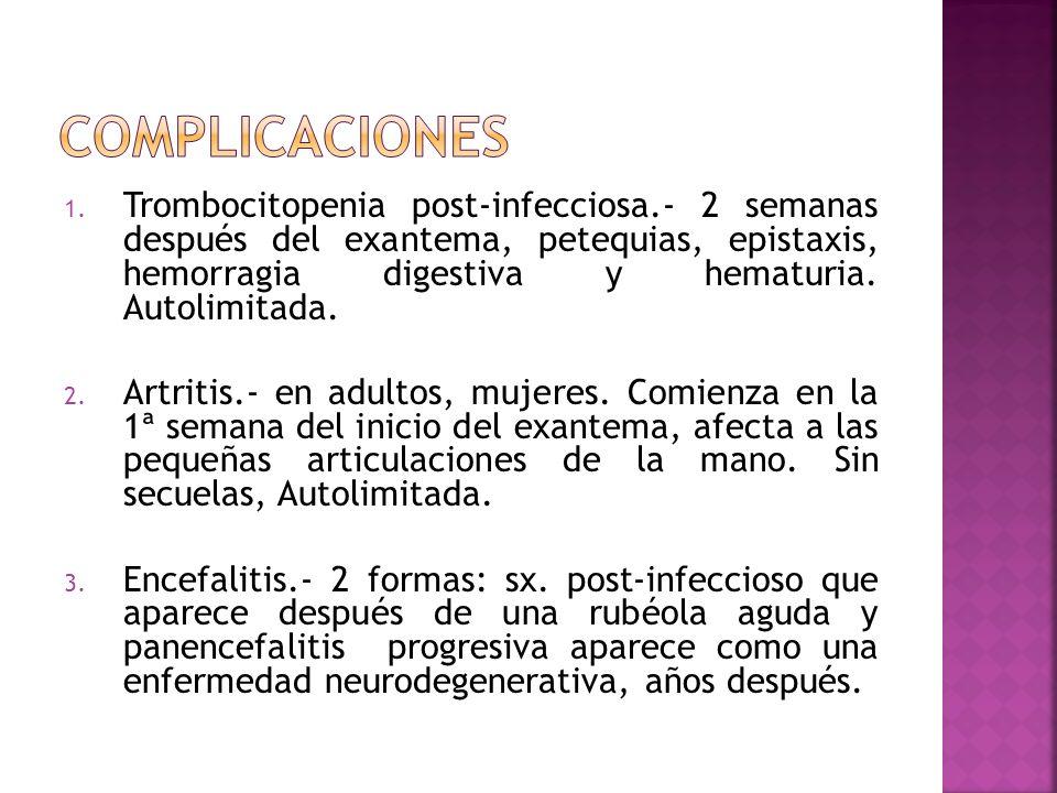 1. Trombocitopenia post-infecciosa.- 2 semanas después del exantema, petequias, epistaxis, hemorragia digestiva y hematuria. Autolimitada. 2. Artritis