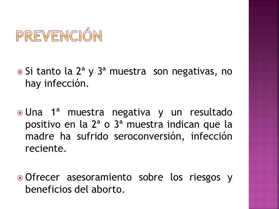 Si tanto la 2ª y 3ª muestra son negativas, no hay infección. Una 1ª muestra negativa y un resultado positivo en la 2ª o 3ª muestra indican que la madr