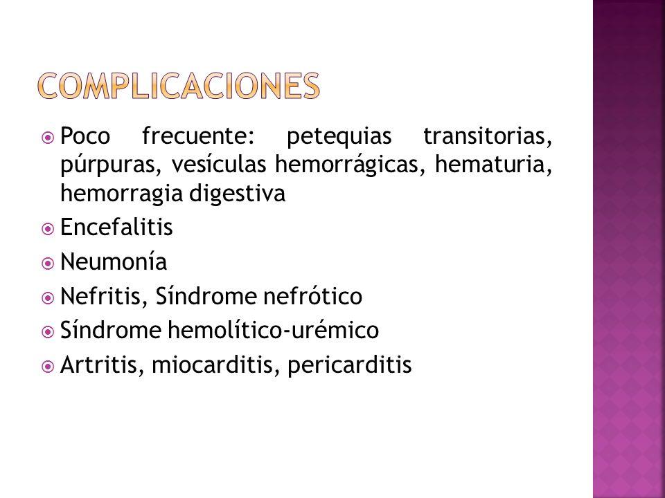 Poco frecuente: petequias transitorias, púrpuras, vesículas hemorrágicas, hematuria, hemorragia digestiva Encefalitis Neumonía Nefritis, Síndrome nefr