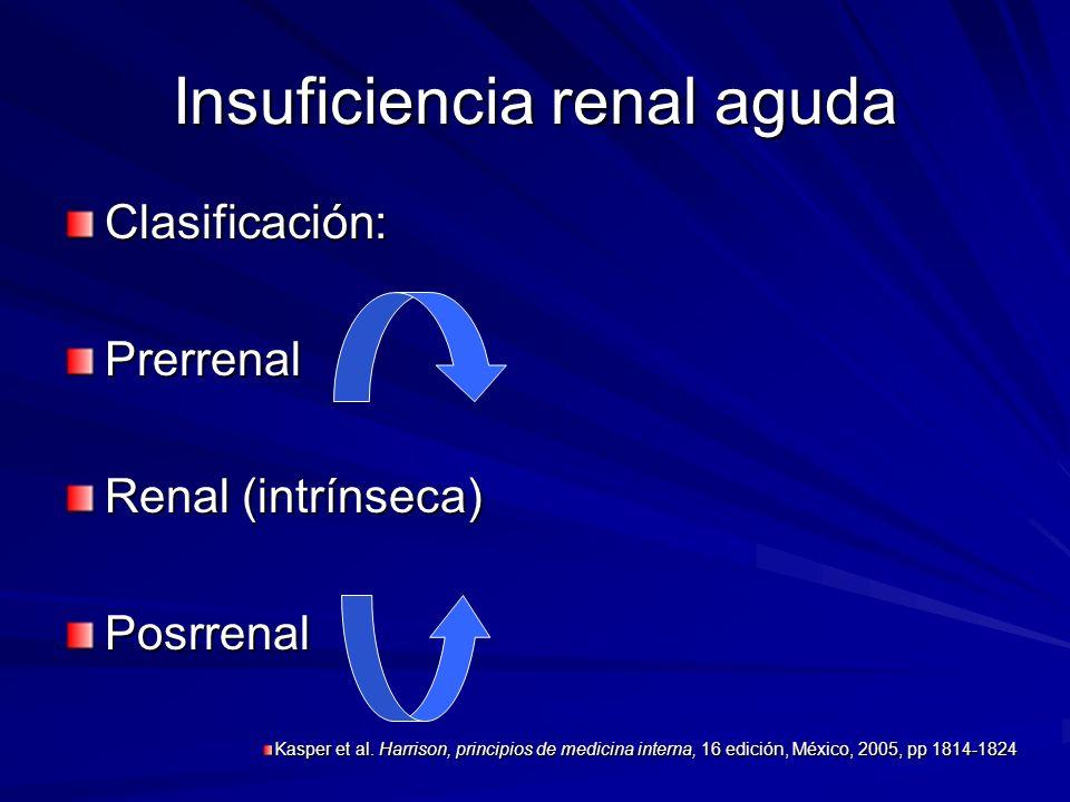 Insuficiencia renal aguda Clasificación:Prerrenal Renal (intrínseca) Posrrenal Kasper et al. Harrison, principios de medicina interna, 16 edición, Méx