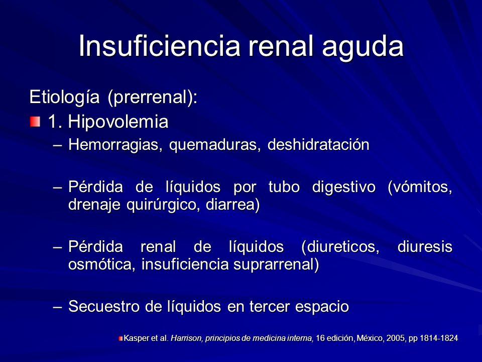 Insuficiencia renal aguda Etiología (prerrenal): 1. Hipovolemia –Hemorragias, quemaduras, deshidratación –Pérdida de líquidos por tubo digestivo (vómi