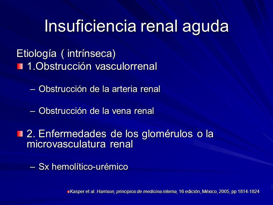 Insuficiencia renal aguda Etiología ( intrínseca) 1.Obstrucción vasculorrenal –Obstrucción de la arteria renal –Obstrucción de la vena renal 2. Enferm