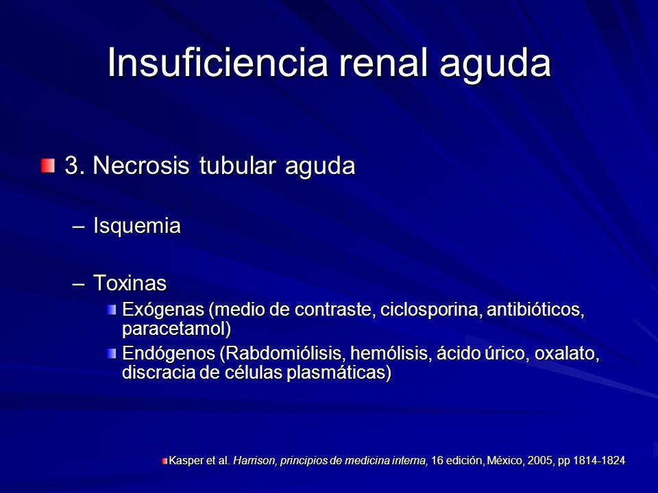 Insuficiencia renal aguda 3. Necrosis tubular aguda –Isquemia –Toxinas Exógenas (medio de contraste, ciclosporina, antibióticos, paracetamol) Endógeno